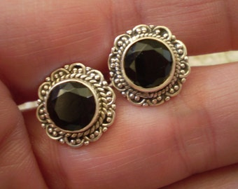 Black Onyx (Natural) 925 Sterling Silver Post Stud Earrings