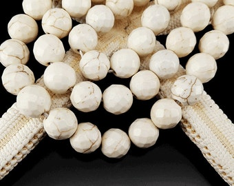 Full Strand Approx 38pcs 10mm Creamy White Howlite Faceted Round Beads Faceted Beads
