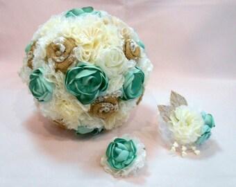 Mint Bridal Bouquet, Wedding Bouquet, Fabric Bouquet, Burlap Bouquet, Mint Bouquet, Burlap and Lace, Vintage Bouquet, Alternative Bouquet