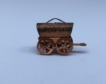 """Antique/Vintage Brass Or Copper Covered Wagon Charm/Pendant - 1/2"""""""