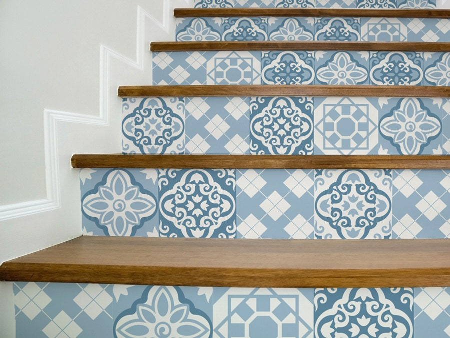 Stair decals blue moroccan style beautiful stair stickers - Stickers imitation carrelage ...