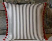 "Navy Ticking Red Pompoms 16"" Pillow//Americana Pillow//Patriotic Pillow"