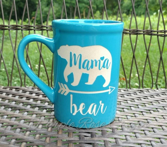 Blue Mama Bear Mother Etched Ceramic Coffee Cup Mug Drink