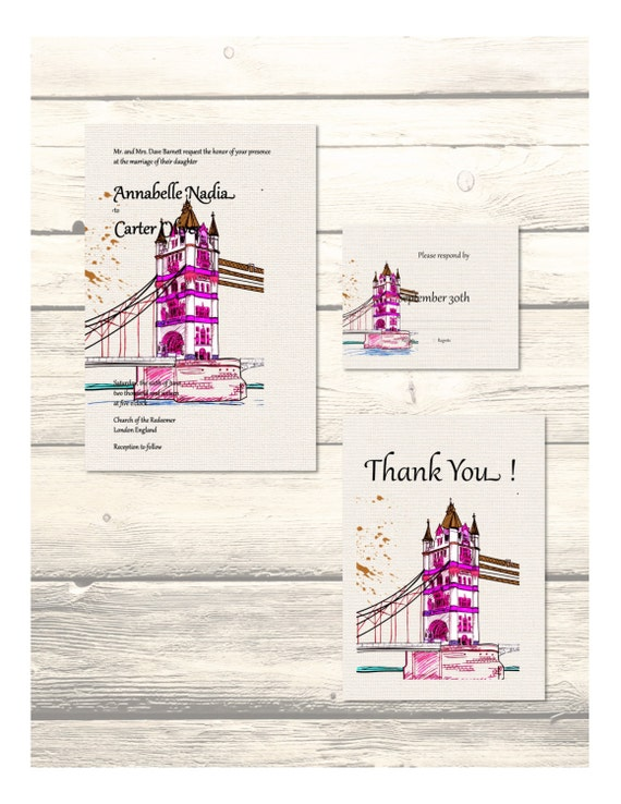 Set of London Bridge Destination Wedding Invitation, RSVP & Thank You Cards Customizable - Printable Digital Download