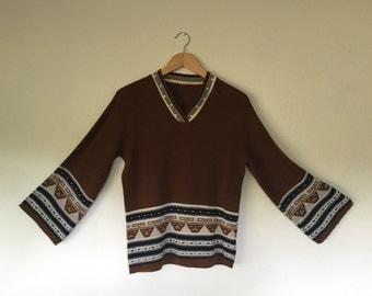 1970s Ethnic Southwestern Knit Sweater