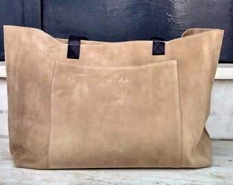 Suede leather tote in beige