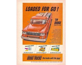 Vintage  newspaper ad for a 1959 Dodge Sweptline truck - 5
