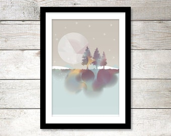 Poster Three Trees and The Moon   210 x 297 mm   8 x 11,7 inches   Art print, Wall print, Wall art, Home decor, Poster, Print, Trees, Moon