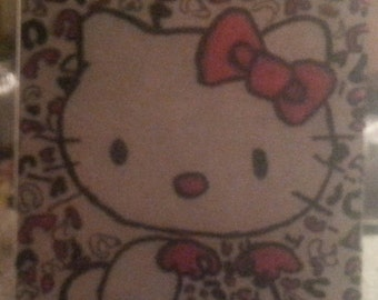 Hello kitty leopard print 5x7 hand painted frame