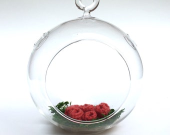Knitted Terrarium - Pink Cup Fungi