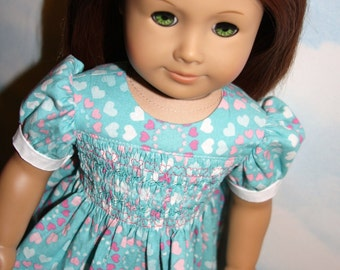 RESERVED FOR KENDALL 18 Inch Doll (like American Girl) Smocked Turquoise, Pink and White Dress with Heart Print