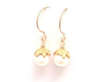 Freshwater Pearl Flower Bud Earrings, Lotus Bud Pearl Earrings, Gold pearl Earrings, Perfect Everyday Earrings