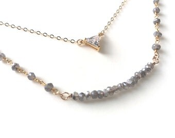 Layered Necklace, Labrdorite Layered Necklaces,Pendant, CZ Pendant Necklace, cz Triangle Necklace, cz Layering Necklace,