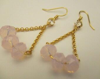 Elegant Vintage Women Long Earrings Facet Light Pink Crystal Stone Brass Gold Plated Charming Design