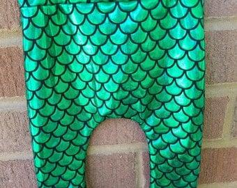 TRENDY Baby Little Mermaid harem legging, green scale leggings, halloween mermaid leggings, hipster baby leggings, toddler mermaid leggings