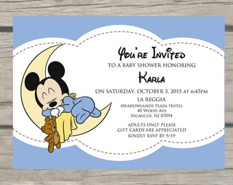 mickey mouse baby shower invitations by thelittlestickynote