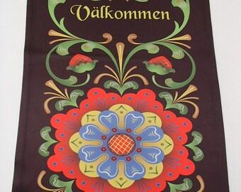 "Garden Flag 12"" x 17"" - Valkommen Swedish Welcome Folk Art Flowers"