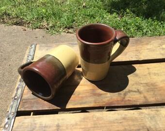 Red and cream mugs