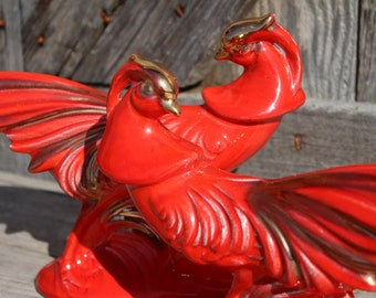 Mid Century Ceramic Pheasants in Red and Gold