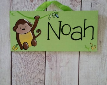 Monkey jungle personalized name sign for kids room or nursery