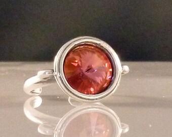 Champagne Rose Swarovski Crystal Ring, Adjustable