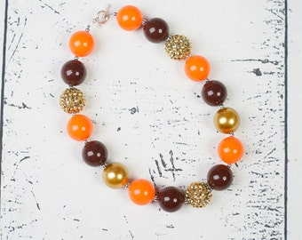THANKSGIVING Chunky Necklace, Gold Orange Brown chunky bead necklace, Adult Necklace, chunky baby necklace, toddler girls necklace