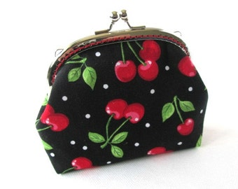 Frame purse red cherries frame bag, makeup bag, kiss lock change purse, silver purse frame, fruit fabric pouch