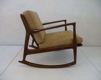 Selig Rocker Ib Kofod Larsen Selig Rocking Chair Mid Century Modern Chair Walnut Chair Danish Furniture Danish Modern Chair