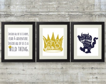 Where The Wild Things Are Printables - Set of 3 8x10 Printable Files in Navy and Gold