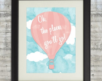 Oh The Places You'll Go Nursery Art Printable 11x14 Dr. Seuss Instant Download File in Blush Pink