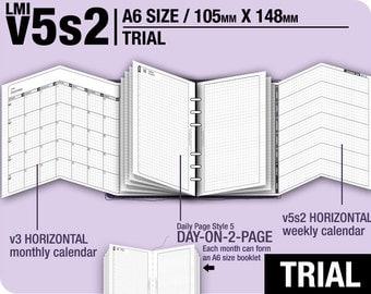 Trial [A6 v5s2 w DS5 do2p] November to December 2017 - Filofax Inserts Refills Printable Binder Planner Midori.