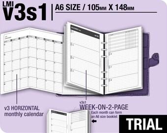 Trial [A6 v3s1 w/o daily] November to December 2017 - Filofax Inserts Refills Printable Binder Planner Midori.