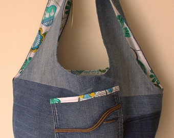 Denim & Flower Hobo Bag