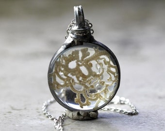 Vintage Irish Lace Pendant - Soldered Glass Jewelry - Tiffany Style Glass - Antique Lace Necklace