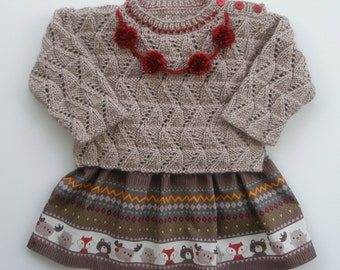 Christmas (Thanksgiving outfit)Pompom Sweater/Pullover and Skirt,Holiday outfit, Toddler gift,Geometric Pattern,Toddler winter dress,pompoms