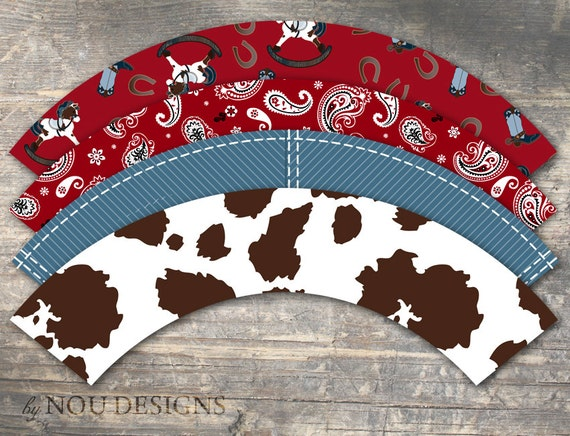 western themed cupcake wrappers printable file