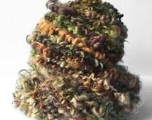 Hand spun yarn - textured lock spun (23 yards)- art yarn -  crochet weaving knitting felting