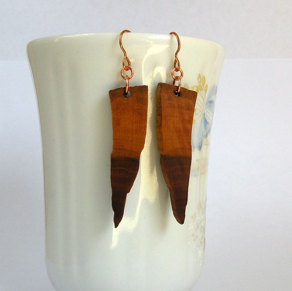 Natural Wood Earrings, Slovenian Plum Wood Earrings, Bronze Ear Wire