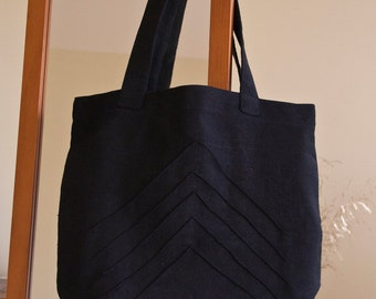 Black linen shoulder shopping bag