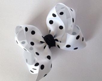 Large 4 Inch White and Black Hair Bow