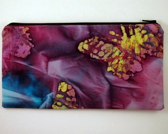 Purple Batik Zipper Pouch, Cosmetic Bag, Gadget Bag, Butterflies