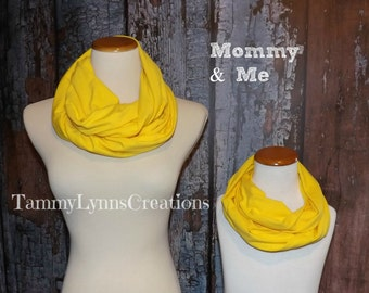 Mommy & Me Solid Yellow Spandex Knit Infinity Scarf Scarves Jersey Knit Women's Girls Accessories