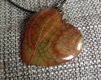 100-Multi Color Heart Shaped Dragon Veins Pendant Necklace-Red Caramel Heart Agate Pendant Necklace-Caramel Dragon Veins Agate Pendant