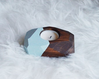 Wooden Geo Tea Candle Holder with Side Painted (Includes Candle)