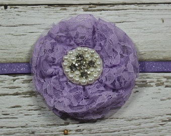 Purple or White Vintage Lace Flower Headband on Purple or Red Glitter Elastic