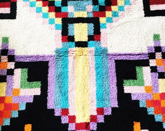 Vintage colorful latch hook rug