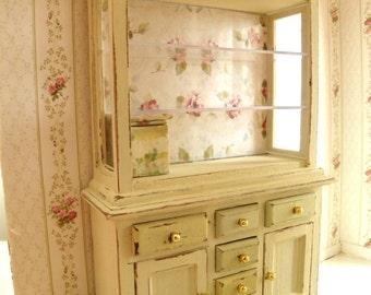 miniature shabbychic dollhouse dresser-cupboard-kitchen furniture
