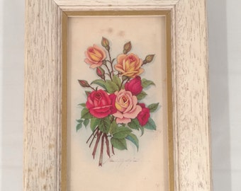 Sweet Vitage Wood Framed Rose Print Dated 1958