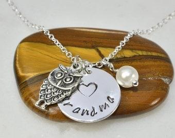 Grandma Necklace,Personalized Necklace,Nana Necklace,Mimi Necklace,Gigi,Owl Necklace,Family Necklace,Mom Gift,Grandma Gift,Mom gift,Xmas