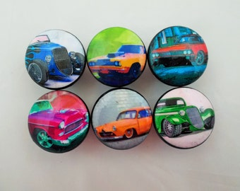 Set of 6 Hot Rod Cars Cabinet Knobs